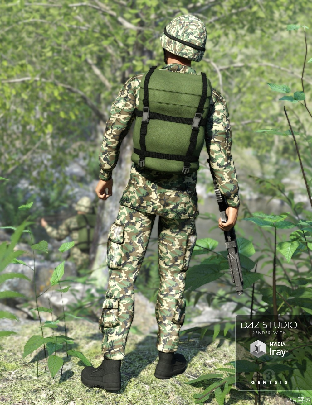 男性陆军制服3D模型 - Army Uniform for Genesis 3 Male and Genesis 2 Male - Daz3d