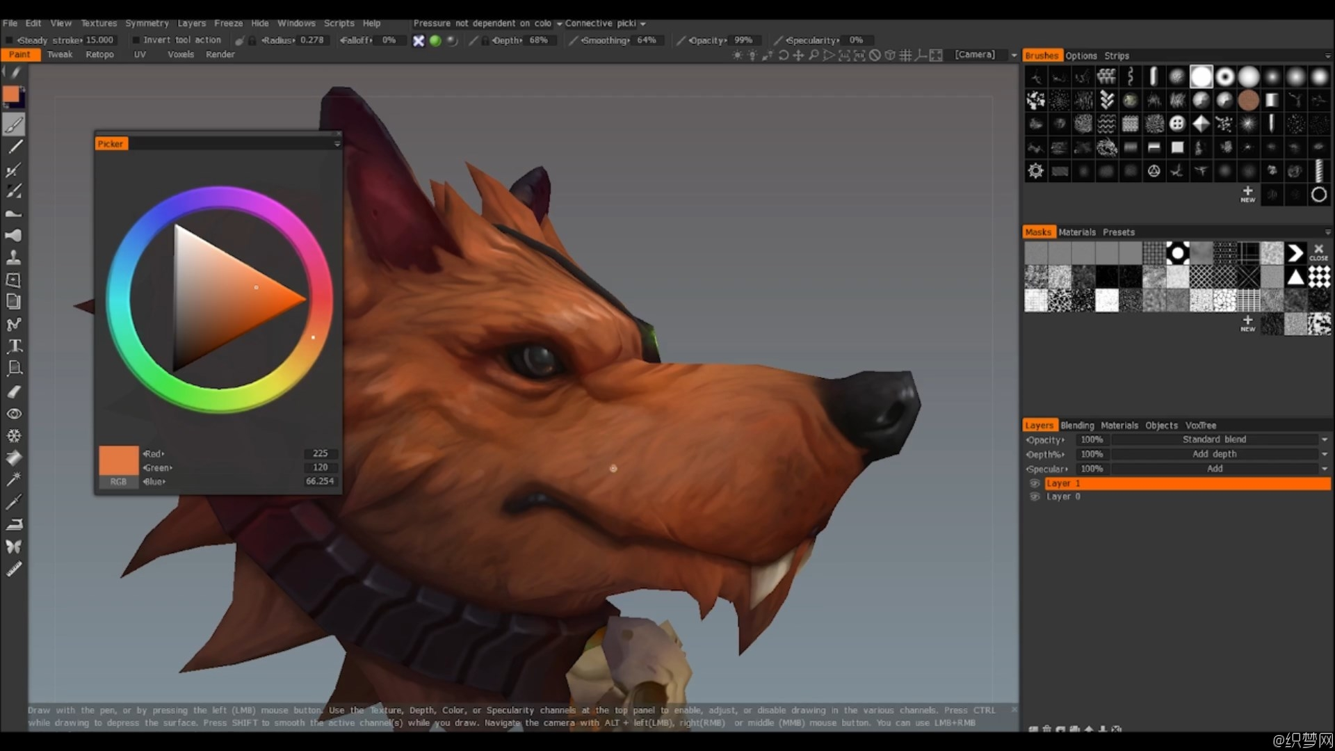 3DCoat手绘皮毛贴图视频教程 - Hand Painting Fur in 3DCoat - Gumroad