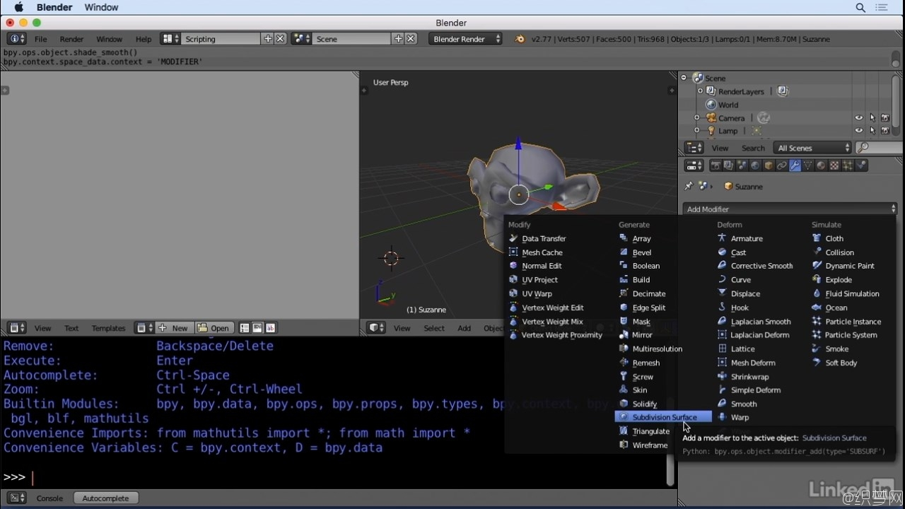 Blender蟒蛇语言视频教程 - Python Scripting for Blender - Lynda