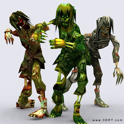 怪兽丧尸僵尸群3D模型 - Zombie Swarm Fantasy Monsters