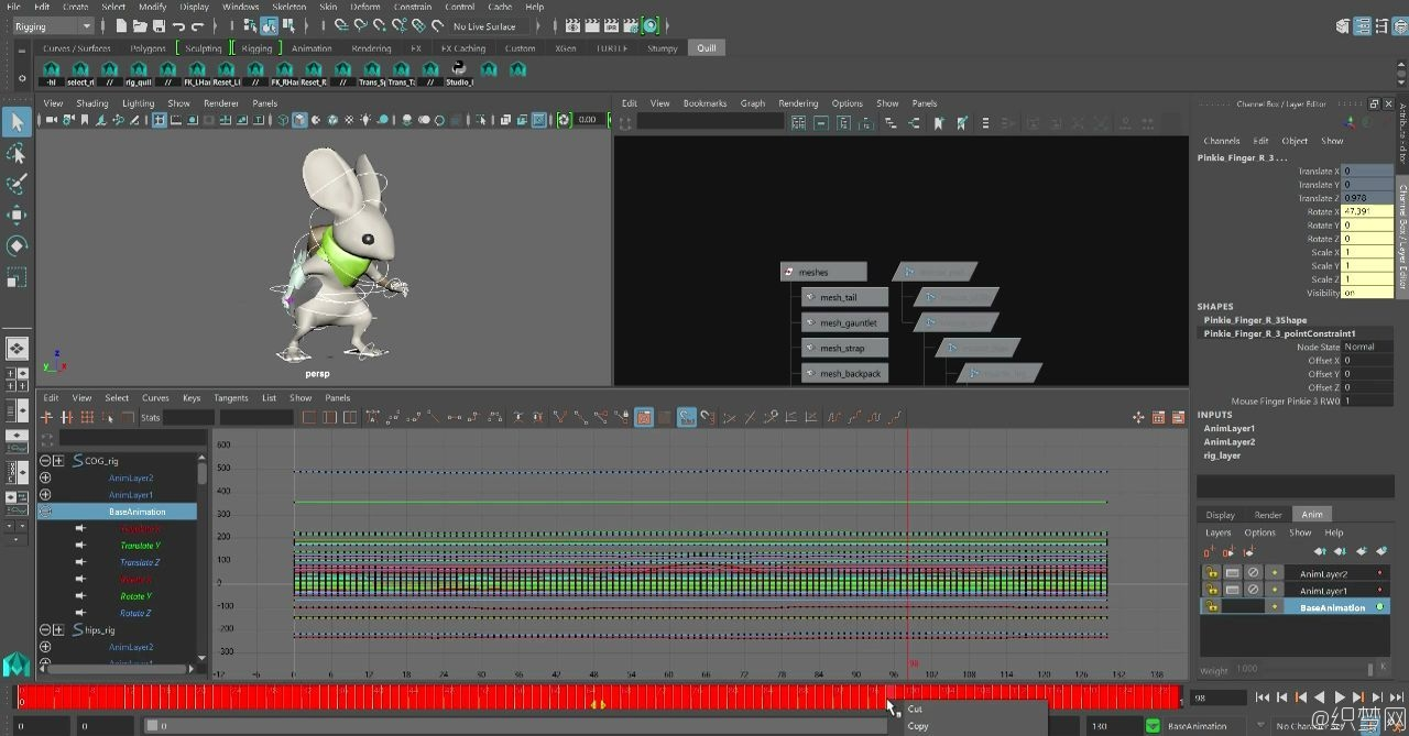 Maya分层动画视频教程 - How to use Additive and Subtractive Motion Layers in Maya