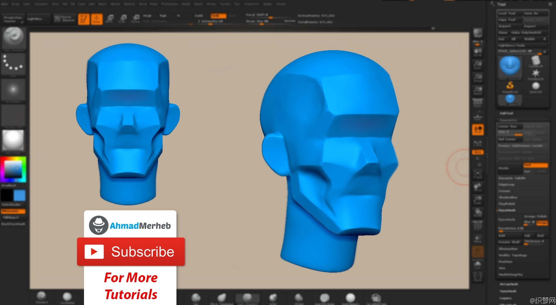 Zbrush雕刻基础头部模型视频教程 - Sculpting base head structure in zbrush