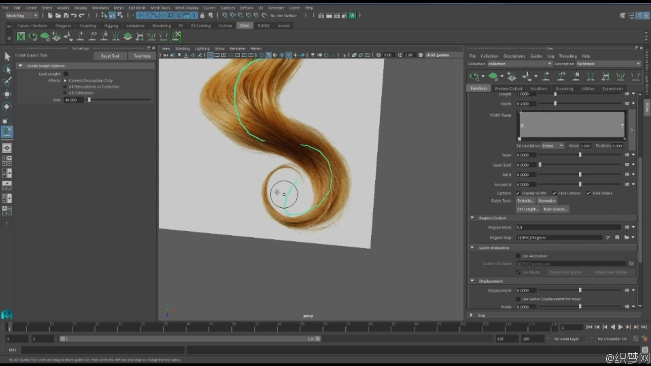 Maya Xgen曲线引导制作真实长发视频教程 - Xgen guide curve based grooming essentials in Maya