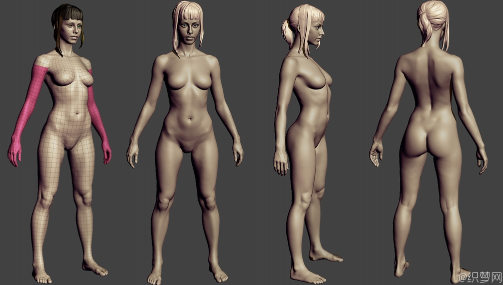 苗条的女性角色3D模型下载 - Slim female body basemesh