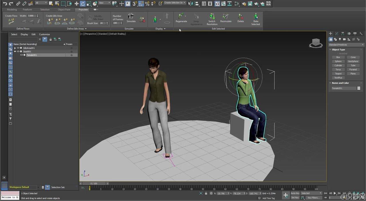 3ds Max角色动画导入Stingray技术教程 - 3ds Max Populate Characters Export to Stingray