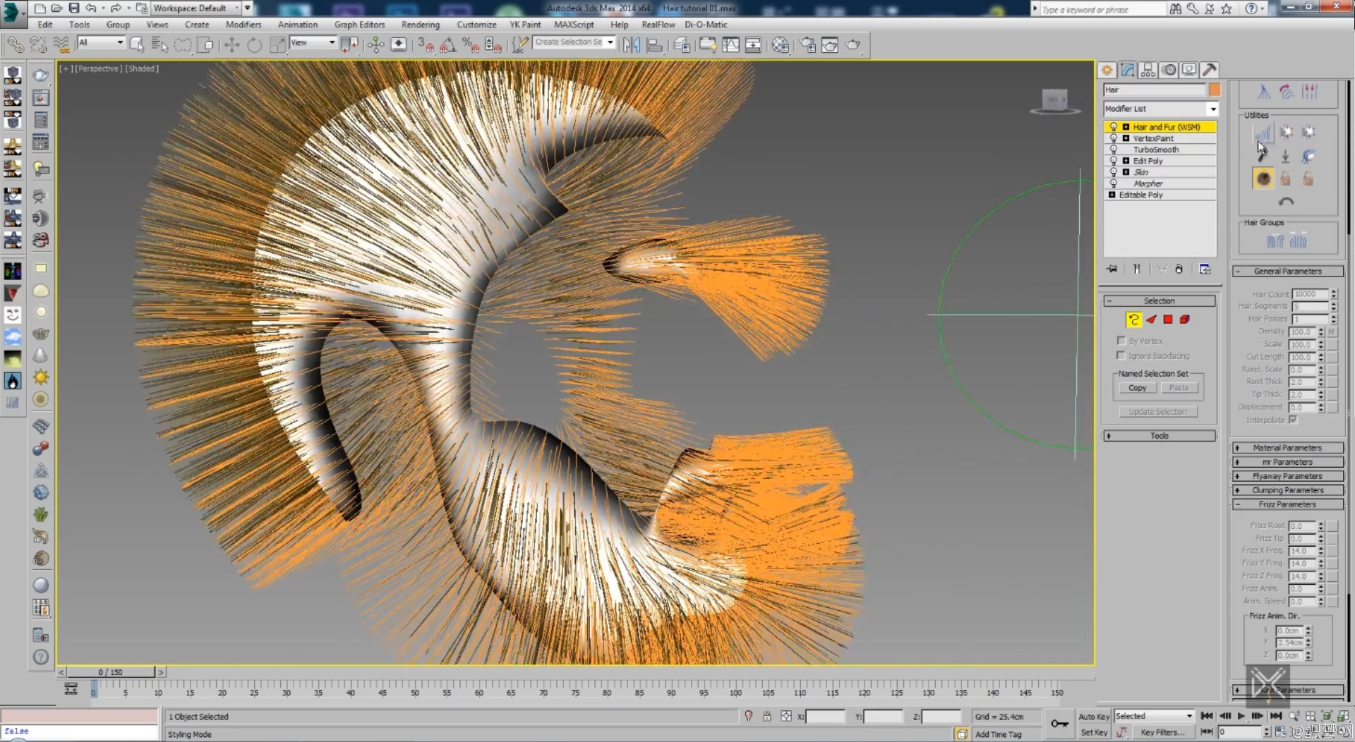 3ds max制作头发和胡须毛发视频教程 - 3ds max Hair Tutorial without Plugins