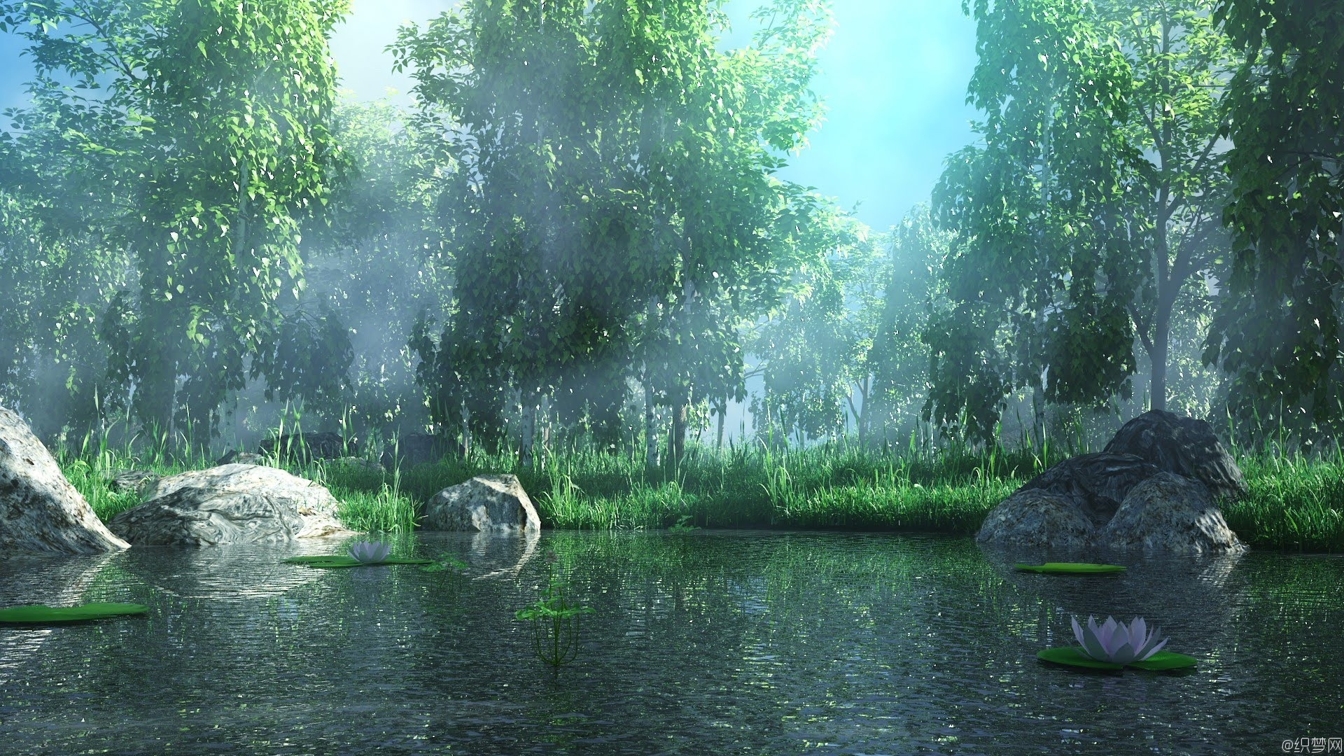 湖边的森林场景模型制作视频教程 - Making of forest lake 3ds max tutorial - Environment modeling