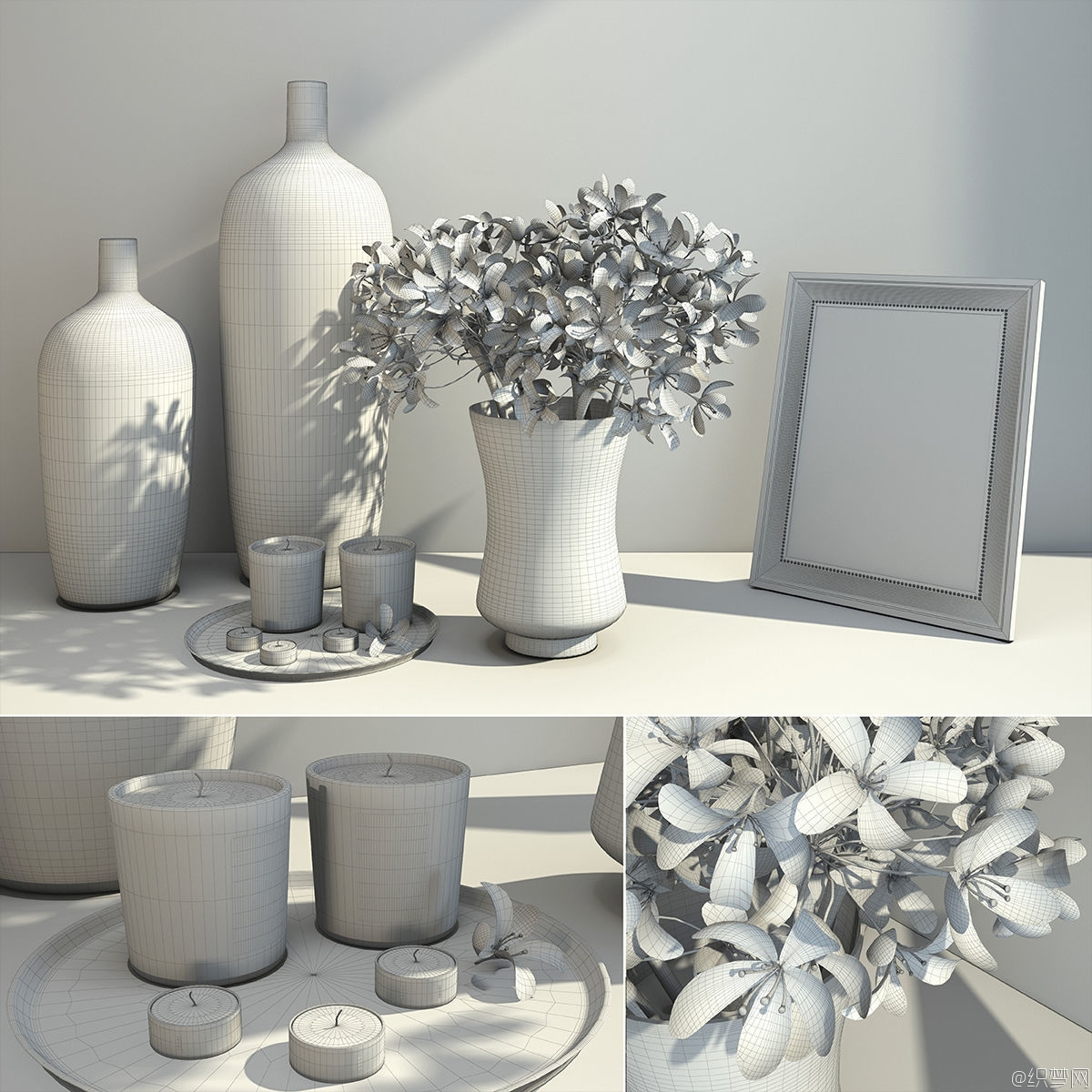 室内装饰花束花瓶3D模型 - Decorative Set of Flowers 3D Model