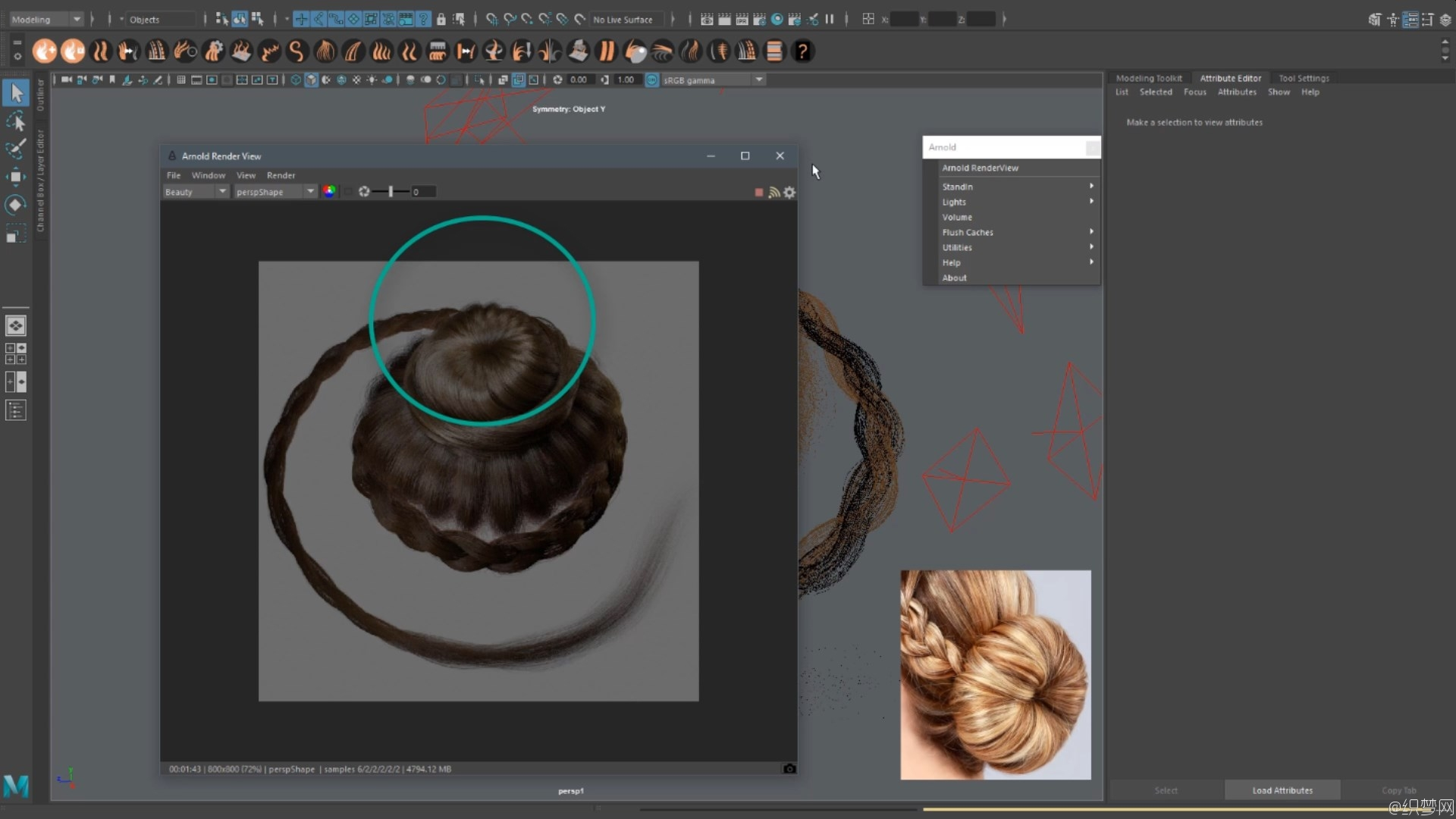 Ornatrix制作麻花辫、发髻制作视频教程 - Creating Braids and Buns in Maya