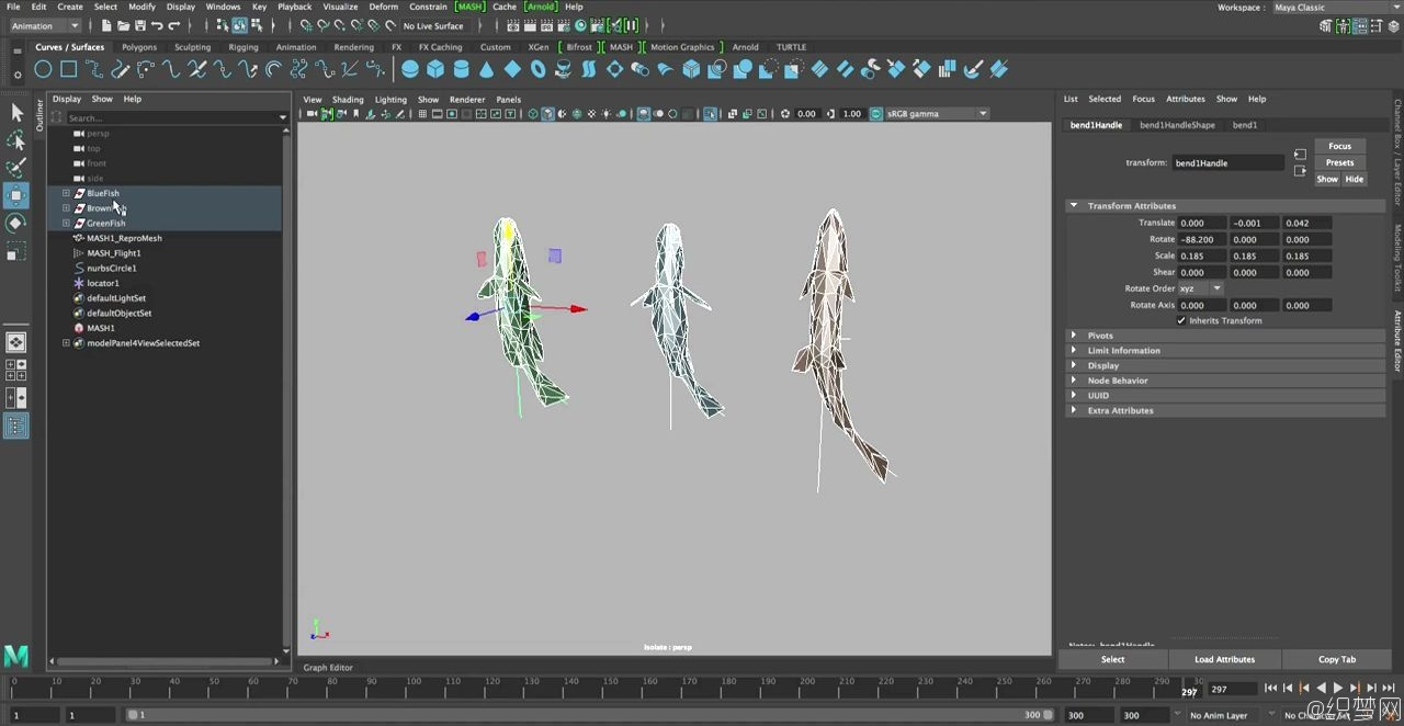 Maya 2017中鱼群动画视频教程 - Schooling Fish with Mash Flight Node in Maya 2017