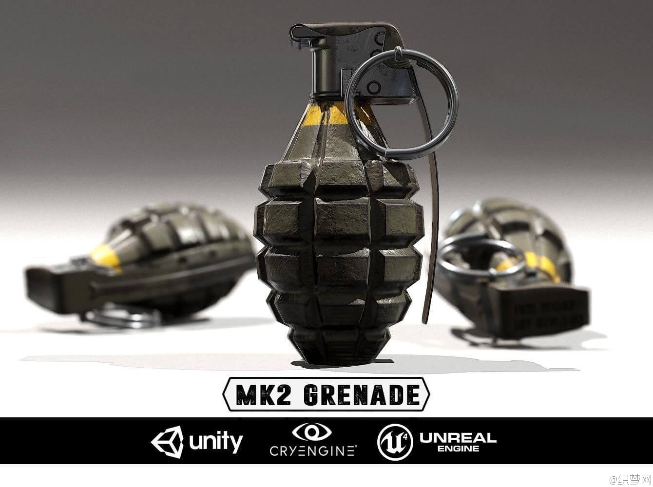 MK2手雷3D模型及纹理贴图下载 - MK2 Grenade - Models and Textures