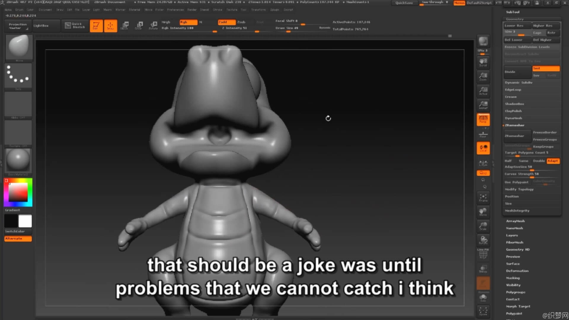 ZBrush 4r7雕刻鳄鱼宝宝3D模型全流程视频教程 - Modeling Cartoon Crocodile-Baby Dragon 4
