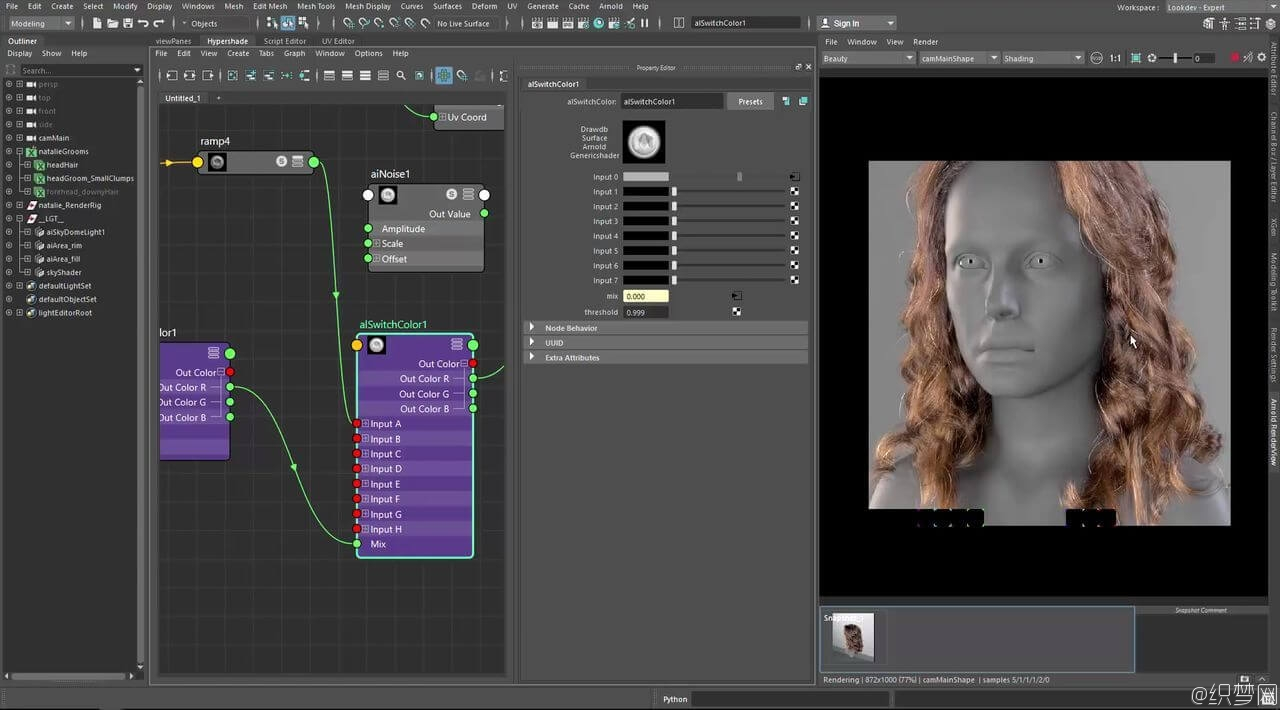 Maya 2017超写实毛发渲染视频教程 - Realistic Hair Shading Using Arnold with Maya 2017