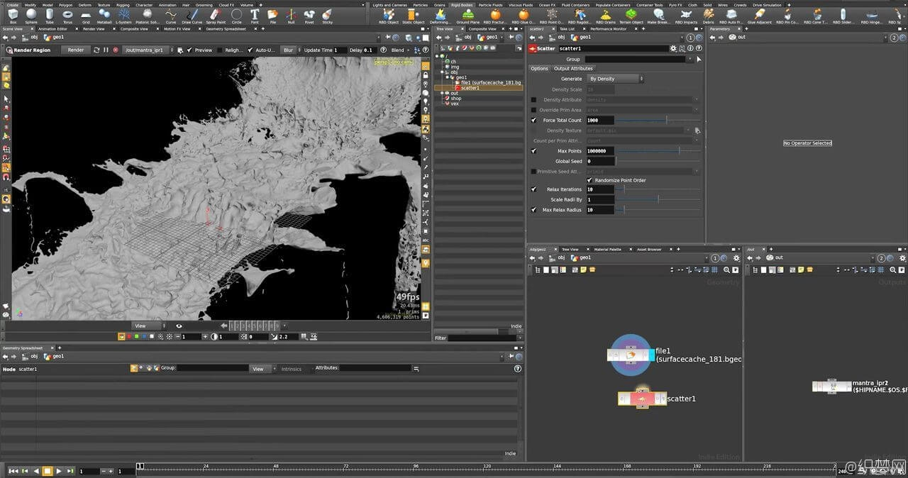 Houdini制作小河流水特效视频教程 - Creating Wetmaps Using CHOPS in Houdini