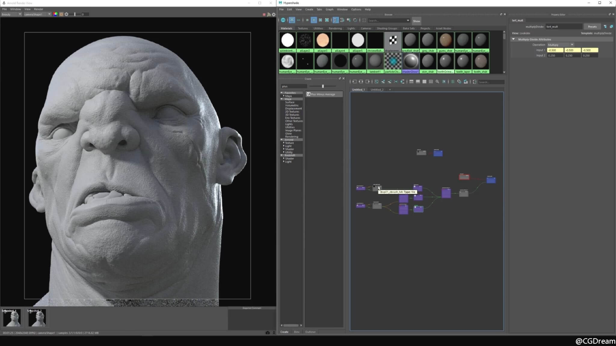Maya 2017和Arnold渲染逼真角色皮肤视频教程 - Look Dev Realistic Skin for Characters 2