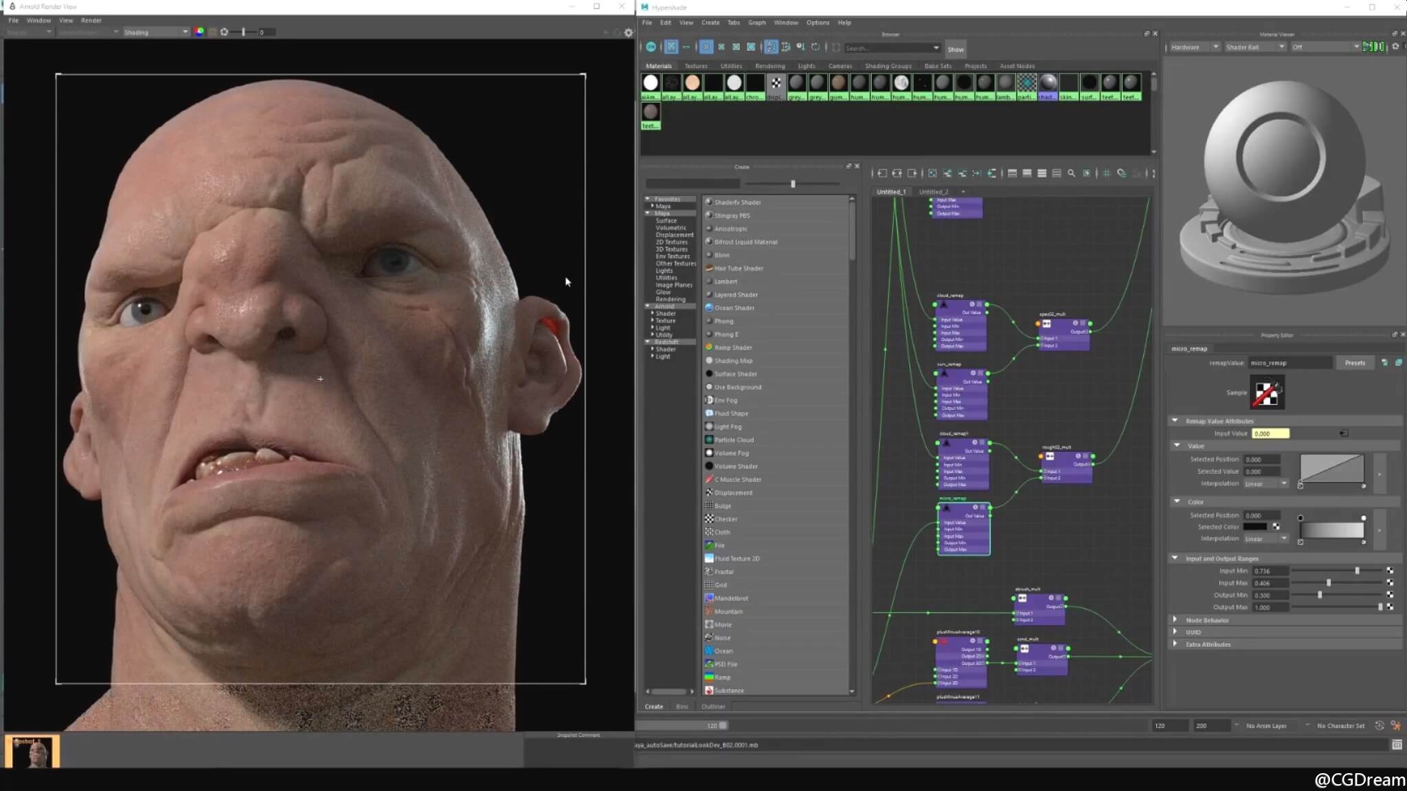 Maya 2017和Arnold渲染逼真角色皮肤视频教程 - Look Dev Realistic Skin for Characters 8