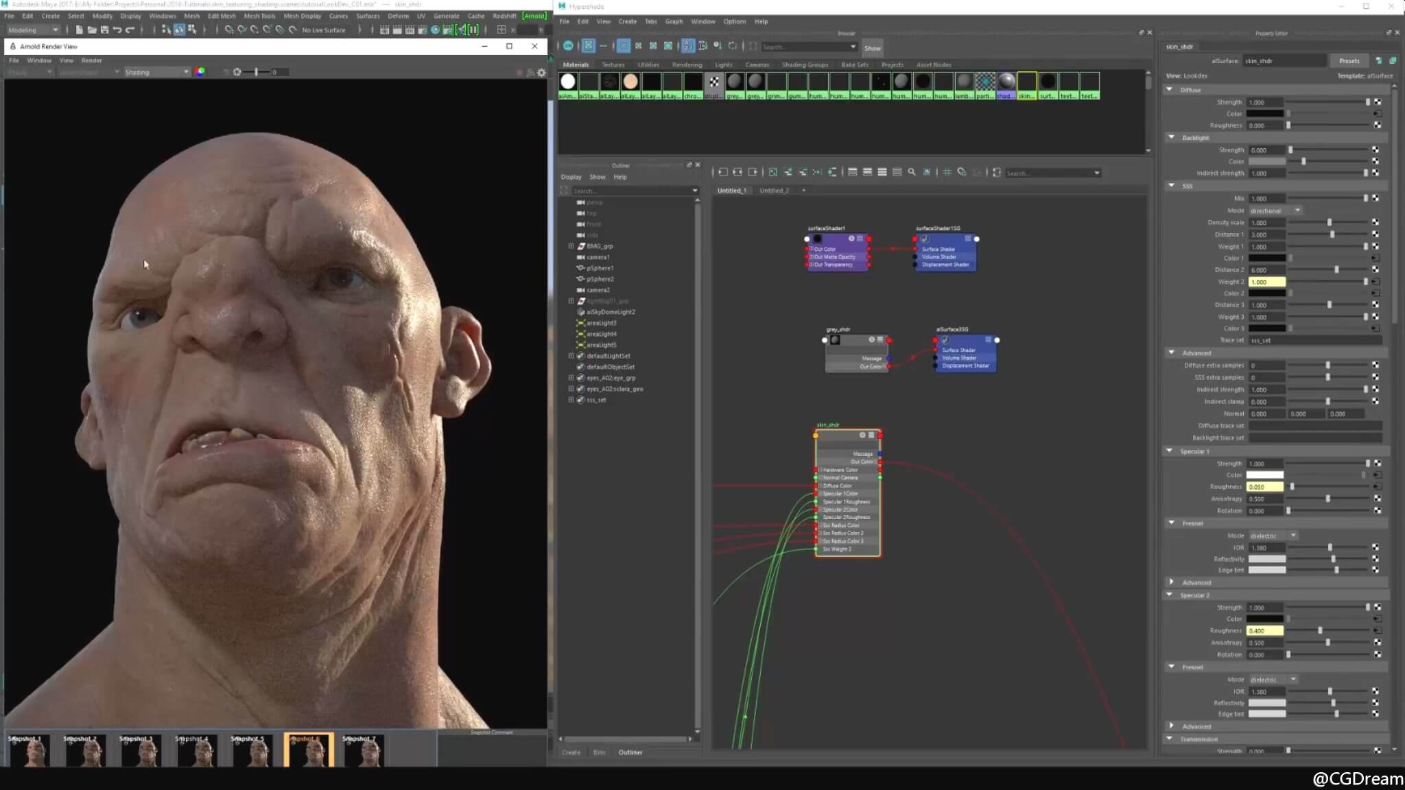 Maya 2017和Arnold渲染逼真角色皮肤视频教程 - Look Dev Realistic Skin for Characters 11