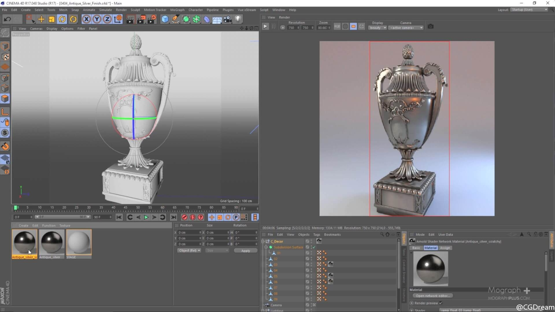 Arnold电影级写实渲染技术视频教程第一部分 - Developing Realistic shaders in Arnold for Cinema 4d Vol. ...