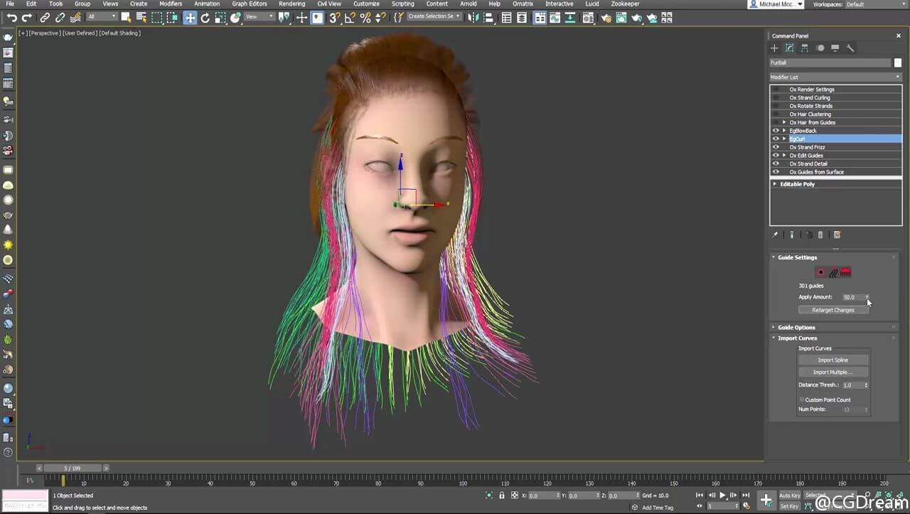 Ornatrix 3ds max: Morphing Guides Using Spline Tools and Ornatrix Native Features