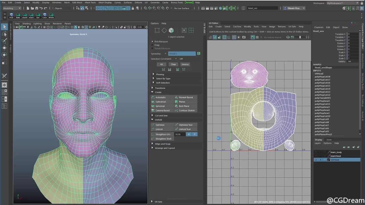 Maya 2018 展UV工具应用教程 - UV Toolkit Review