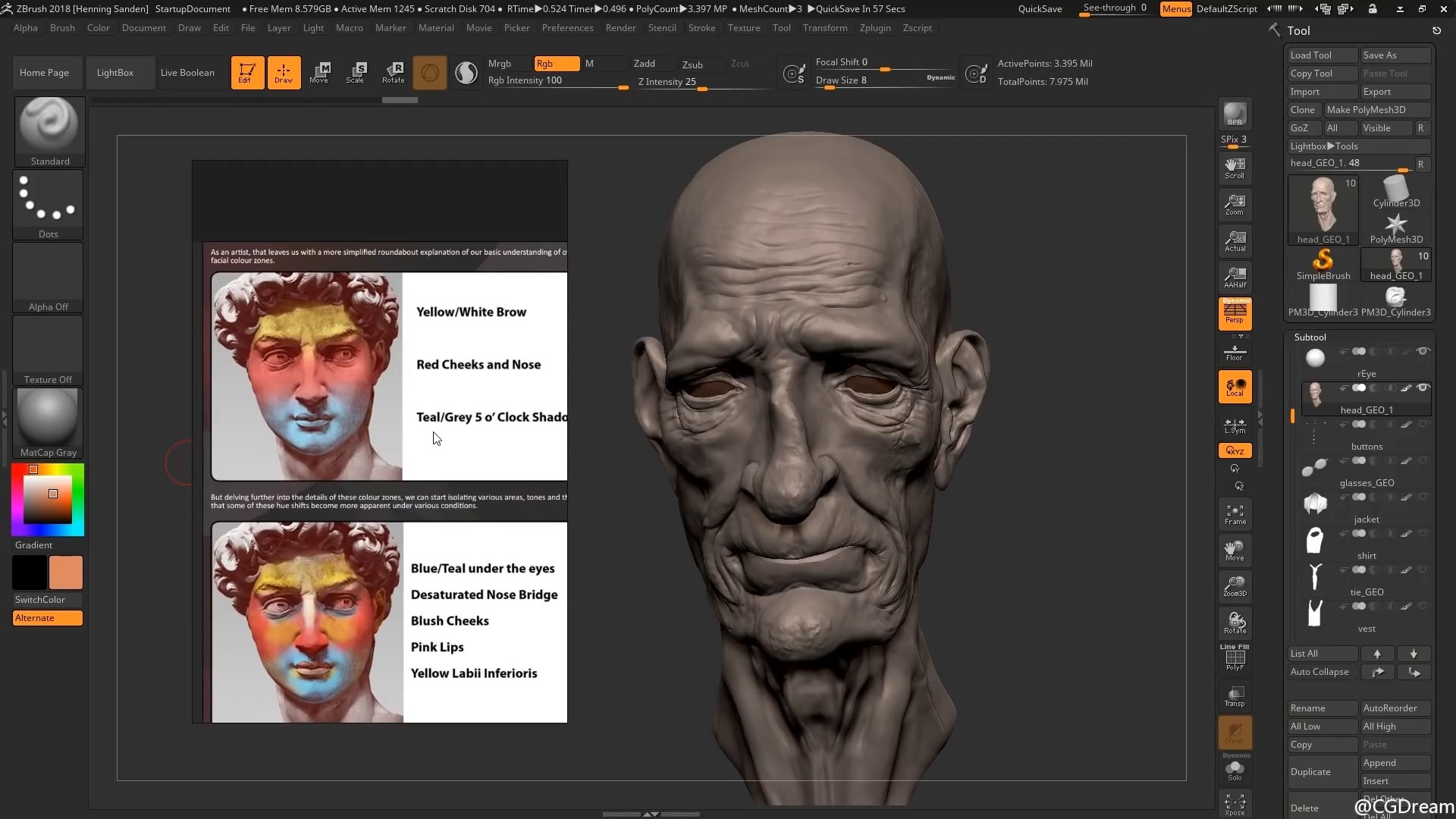 ZBrush绘制头部贴图视频教程 - 色彩理论 - Polypaint a Head in ZBrush - Color Theory