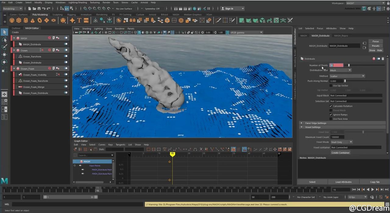 Maya制作块状海洋特效教程 - Creating MASH Effects Blocky Ocean