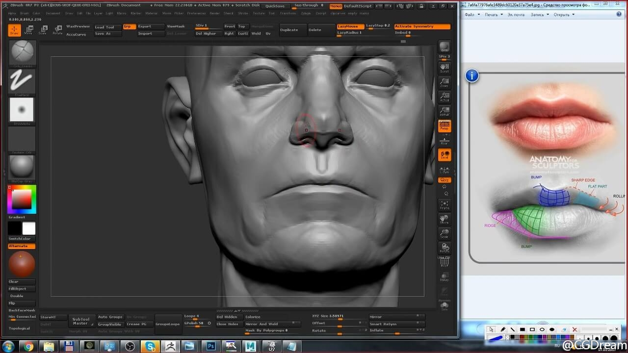 ZBrush雕刻高精度肖像3D模型教程 - Sculptural portrait in details and nuances