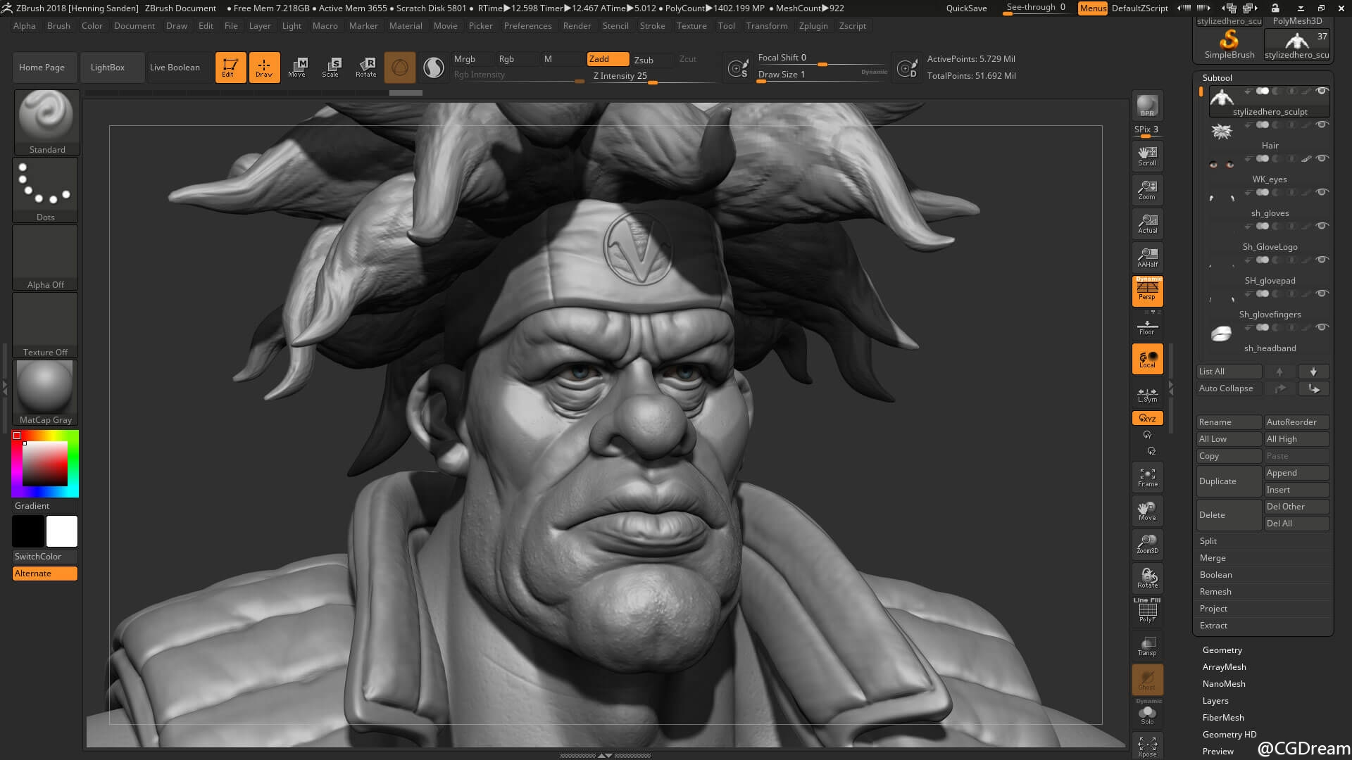 ZBrush雕刻游戏角色模型教程 - Modeling characters for games
