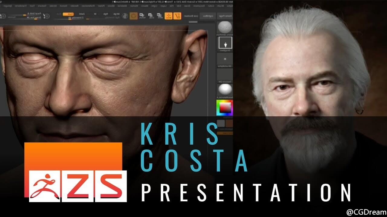 ZBrush真实角色制作教程 - Realistic Portraiture with Kris Costa