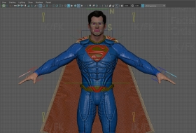 带骨骼绑定的超人3D模型下载 - Superman_forever full rigged with textures