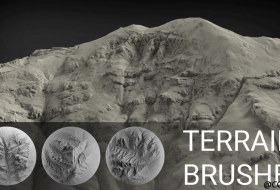 Zbrush雕刻山地地形笔刷素材 - Terrain Brush Pack for Zbrush - 100 Brushes