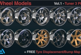 10个精致的汽车轮毂3D模型  - 10 Wheels Rims Models  Tuner 3 Piece Vol 01