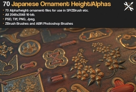 70种日式装饰花纹ZBrush/SP笔刷素材 – ZBrush/SP – 70 Japanese Ornament Alphas